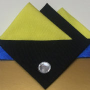 Yellow and Black Pocket Hankie With Black Flap and Pin